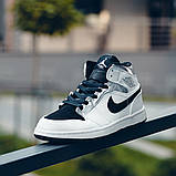 Nike Air Jordan 1 Mid Alternate Женские осенние черно-белые кожаные кроссовки. Женские кроссовки на шнурках, фото 7