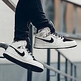 Nike Air Jordan 1 Mid Alternate Женские осенние черно-белые кожаные кроссовки. Женские кроссовки на шнурках, фото 8