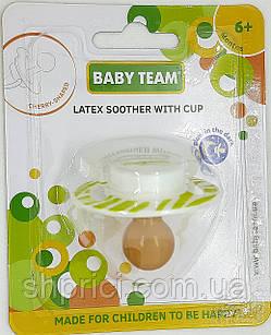 Соска-пустышка латексная вишнеподобная с колпачком и светящимся кольцом, 6+, BabyTeam, арт.3225