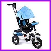 Детский трехколесный велосипед коляска Baby Trike 6595 с звуковыми эффектами (Голубой)