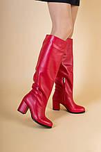 Красные кожаные зимние сапоги с обтянутым каблуком