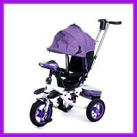 Детский трехколесный велосипед коляска Baby Trike 6595 с звуковыми эффектами (Фиолетовый)