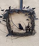Декоративний вінок чорного кольору до Хеловіну (Хеллоуїну), фото 3