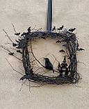 Декоративний вінок чорного кольору до Хеловіну (Хеллоуїну), фото 9