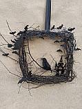 Декоративний вінок чорного кольору до Хеловіну (Хеллоуїну), фото 8