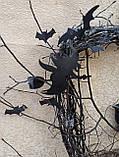 Декоративний вінок чорного кольору до Хеловіну (Хеллоуїну), фото 5