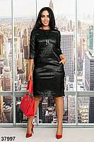 Сдержанное платье прямого кроя с врезными карманами с 48 по 62 размер, фото 1
