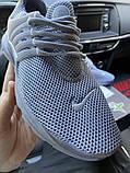 Nike Air Presto Женские осенние серые текстильные кроссовки. Женские кроссовки на шнурках, фото 5