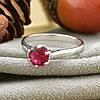 Серебряное кольцо размер 18 вставка рубиновые фианиты вес 1.4 г , фото 2