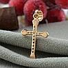 Крестик Xuping для цепочки до 3 мм 71372 размер 27х14 мм белые фианиты вес 0.8 г позолота 18К, фото 2