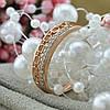 Кольцо Xuping 15225 размер 17 ширина 4 мм вес 2.3 г белые фианиты позолота РО, фото 4