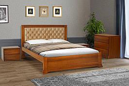 Двуспальная деревянная кровать с мягким изголовьем Аризона 180 Микс мебель , цвет орех / темный орех / белый