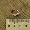 Серьги Xuping 27664 размер 16х7 мм белые фианиты вес 2.6 г позолота 18К, фото 3