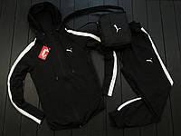 Мужской весенний спортивный костюм Puma (black/white), черный спортивный костюм Пума (Реплика ААА)