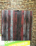 Декоративная 3D панель стеновая самоклеющаяся под БАМБУК КРАСНО-СЕРЫЙ 700х700х8.5мм (в упаковке 10 шт), фото 4