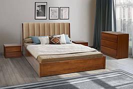 Двуспальная деревянная кровать Калифорния с подъемной рамой 160 Микс мебель , цвет орех / темный орех / белый