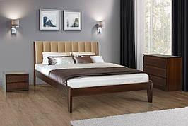 Двуспальная деревянная  кровать с мягким изголовьем Калифорния  160 Микс мебель, цвет орех/темный орех / белый