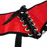 Трусы для страпона Sportsheets - SizePlus Red Lace Satin Corsette, с корсетной утяжкой, ульракомфорт, фото 5
