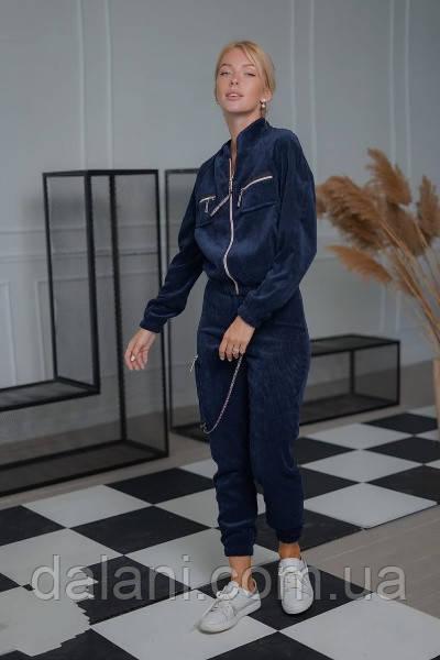 Вельветовый женский синий костюм из бомбера и джоггеров