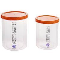 Набор емкостей для сыпучих продуктов Народный продукт 1,0л +1,5л (оранжевая крышка)