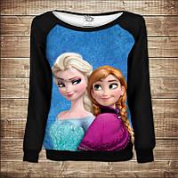 Женский свитшот - реглан с открытыми плечами с 3D принтом-Frozen Анна и Эльза