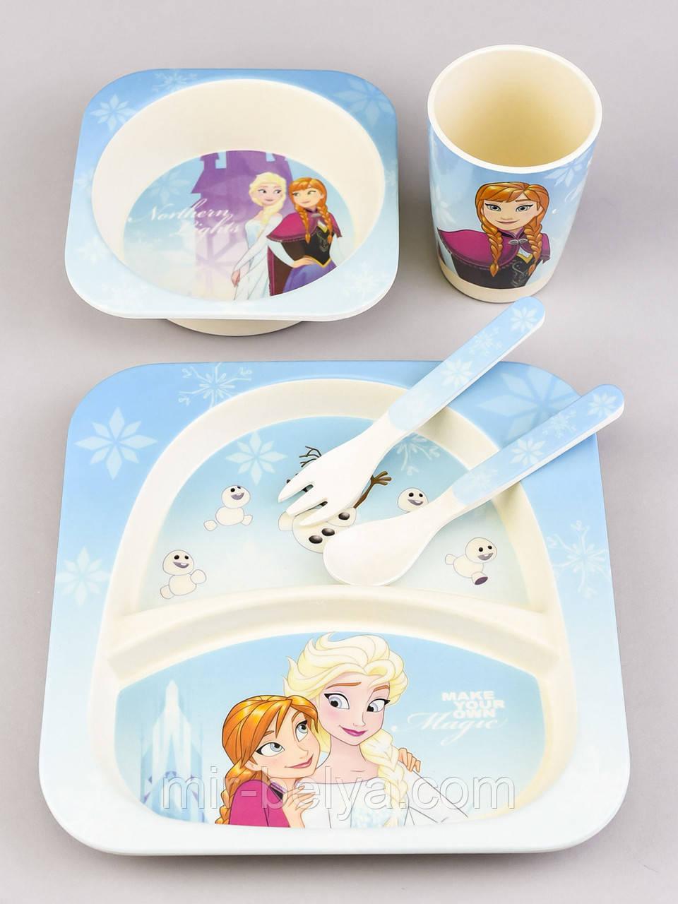 """Набор детской бамбуковой посуды 5 предметов """" Холодное сердце 2 """""""