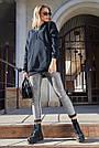 Толстовка женская с капюшоном чёрная на флисе, фото 4