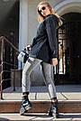 Толстовка женская с капюшоном чёрная на флисе, фото 6