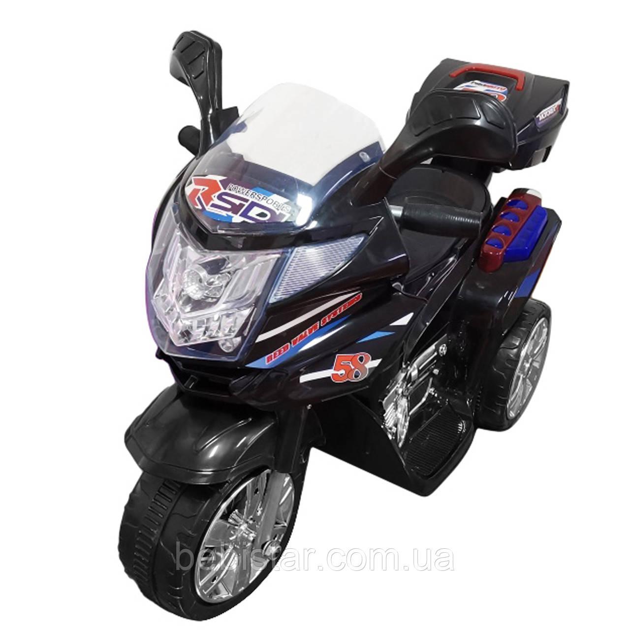 Детский электромобиль мотоцикл трехколесный черный аккумулятор 6V4,5AH от 3 до 5 лет рост до 105см