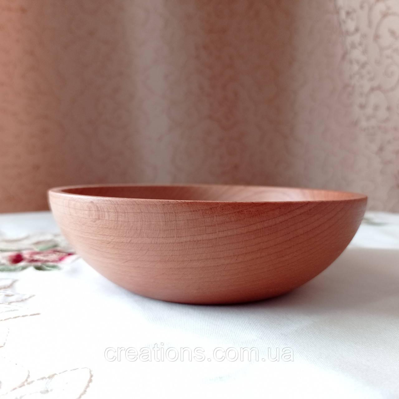 Пиала деревянная 17 см. глубокая тарелка для подачи