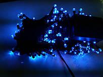 Гирлянда 100 LED 5mm, на черном проводе, Синяя