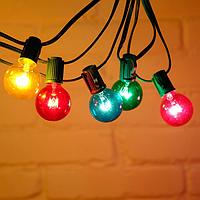 Гирлянда РЕТРО PREMIUM с лампочками G40 от 7,5 м, 25 ламп. черный шнур, лампы стекло, цвет мульти, ГАРАНТИЯ!