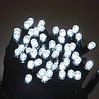 Гирлянда УЛИЧНАЯ нить (линия)  100 LED 8mm,10 метров, на черном проводе.белая