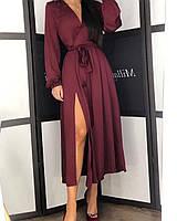 Женское шелковое платье на запах ниже колен