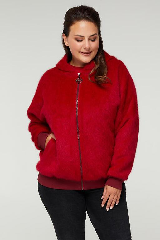 Женская осенняя короткая куртка из ангоры, размеры 48-64