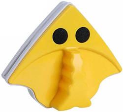 Магнитная щетка для мытья окон с двух сторон MHZ Glass Wiper 7198, желтая