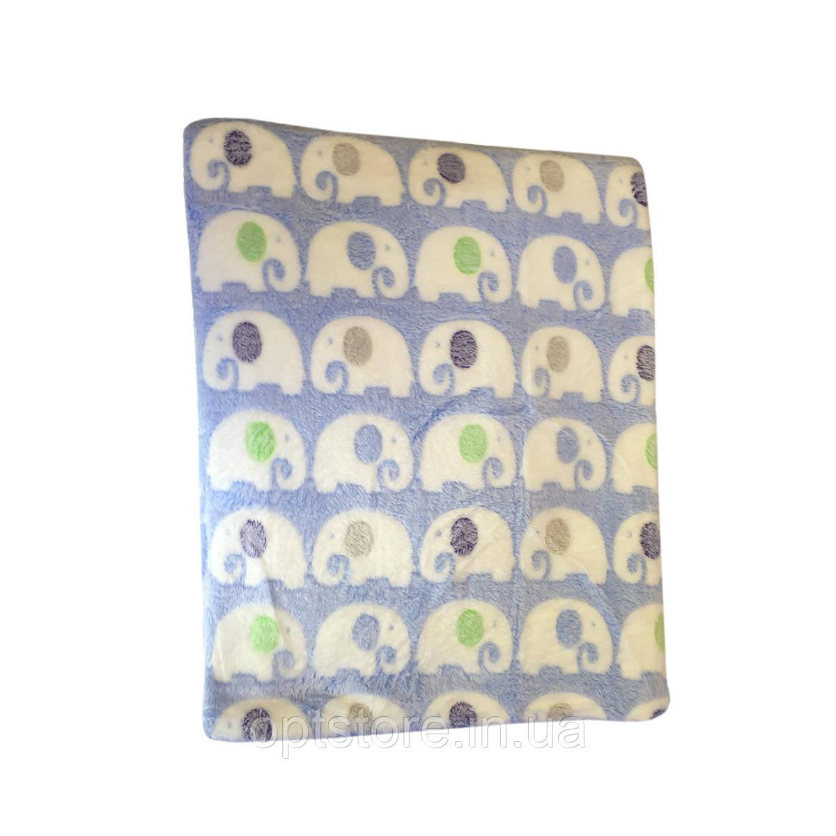 Плед зі слонами полуторний 150/210 см тканина мікрофібра