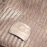 Шапкадвойная, металлик, помпон чернобурка, фото 2