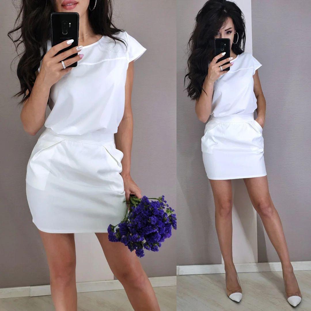 Стильный классический костюм юбка мини и блуза черная или белая