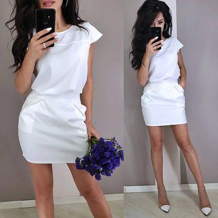 Стильный классический костюм юбка мини и блуза черная или белая, фото 2