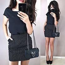 Стильный классический костюм юбка мини и блуза черная или белая, фото 3
