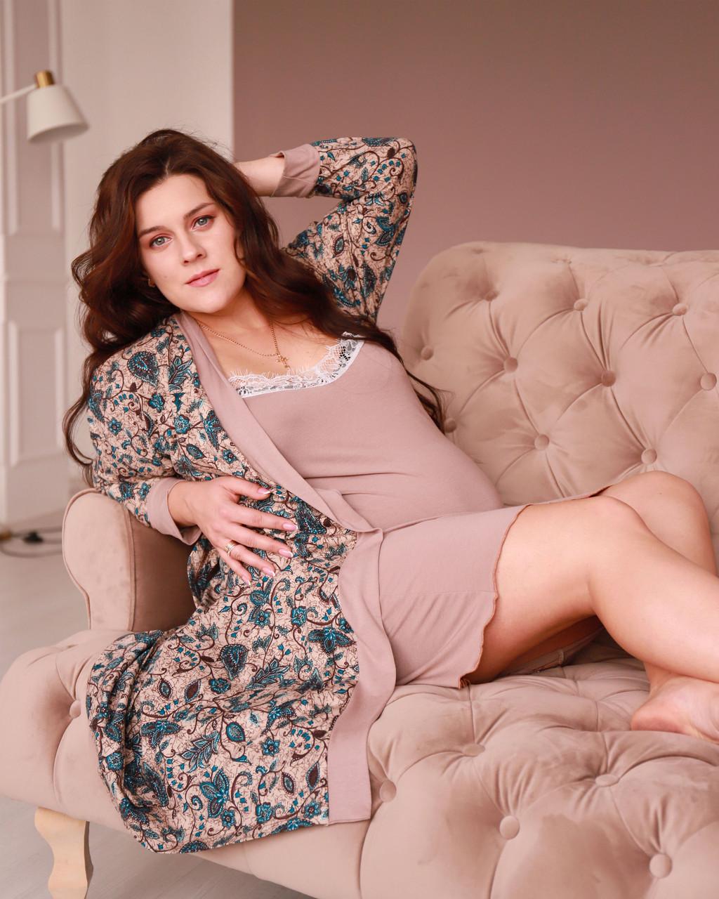 Комплект двойка халат и ночная рубашка для беременных и кормящих вискоза Браун