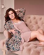 Комплект двійка халат, нічна сорочка для вагітних і годуючих віскоза Браун