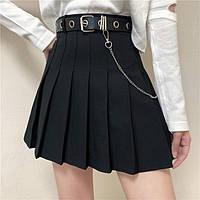 Юбка мини теннисная плиссированная серая черная короткая с ремнем с цепью цепочкой