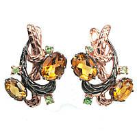 Срібні сережки з цитрином жовто-оранжевим, 551СРЦ