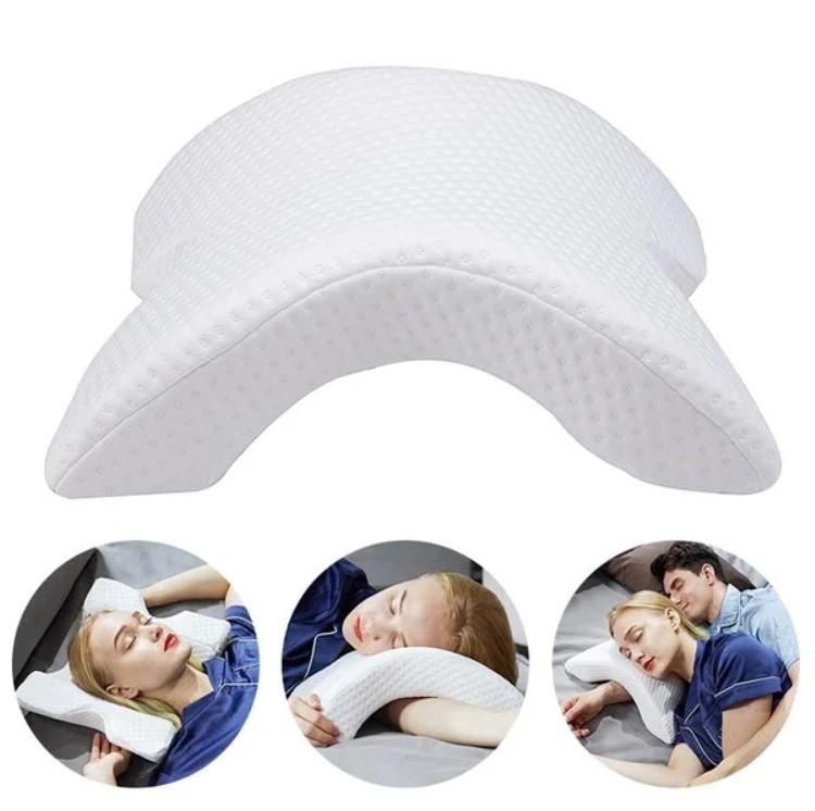 Подушка ТОННЕЛЬ для шеи из пены с эффектом памяти изогнутая   Ортопедическая изогнутая подушка под шею