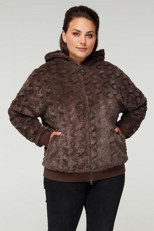 Женская осенняя меховая куртка больших размеров 48-64