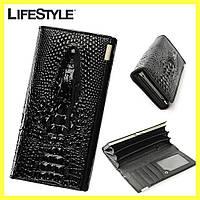 Женский кошелек с 3D изображением крокодила / Женский кожаный кошелек клатч 3D «Крокодил»