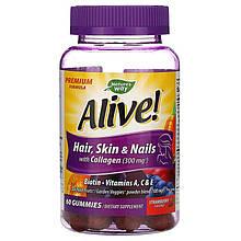 """Комплекс для красоты Nature's Way """"Alive! Hair, Skin & Nails with Collagen"""" с клубничным вкусом (60 конфет)"""