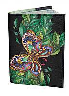 Оригинальная обложка на паспорт, обкладинка для паспорта IdeaX Бабочка на листьях, искусственная кожа